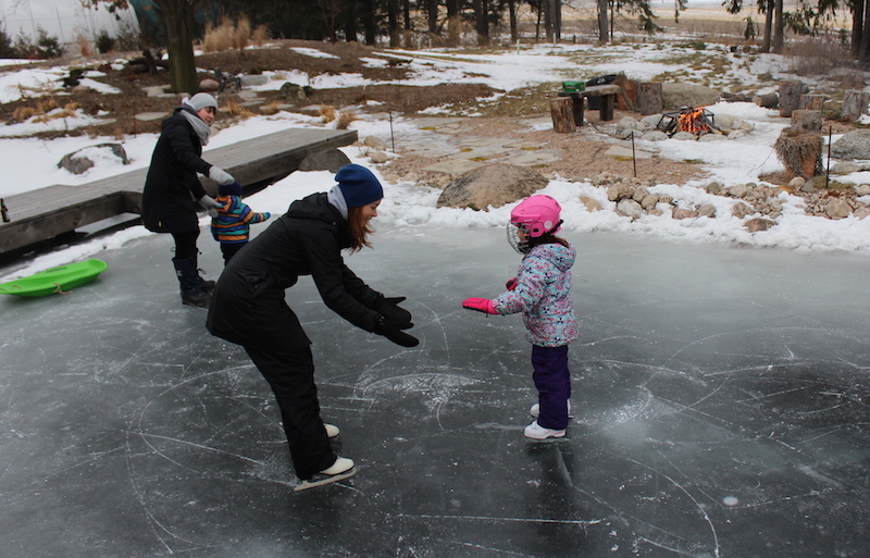 skating on pond