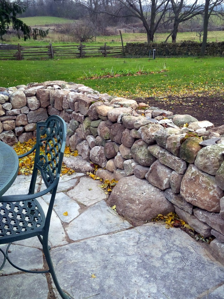 Drystone patio wall