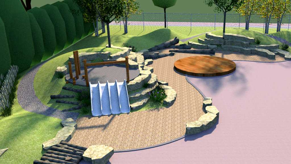 3D rendering of a natural playspace.