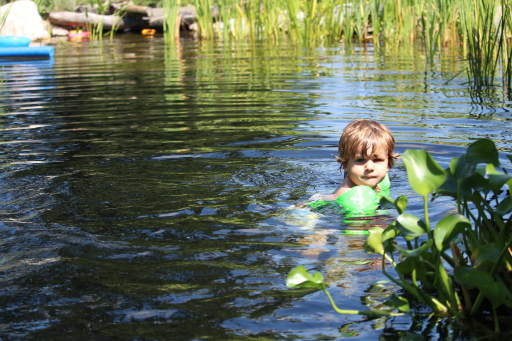 Swimming with plants in a natural pond