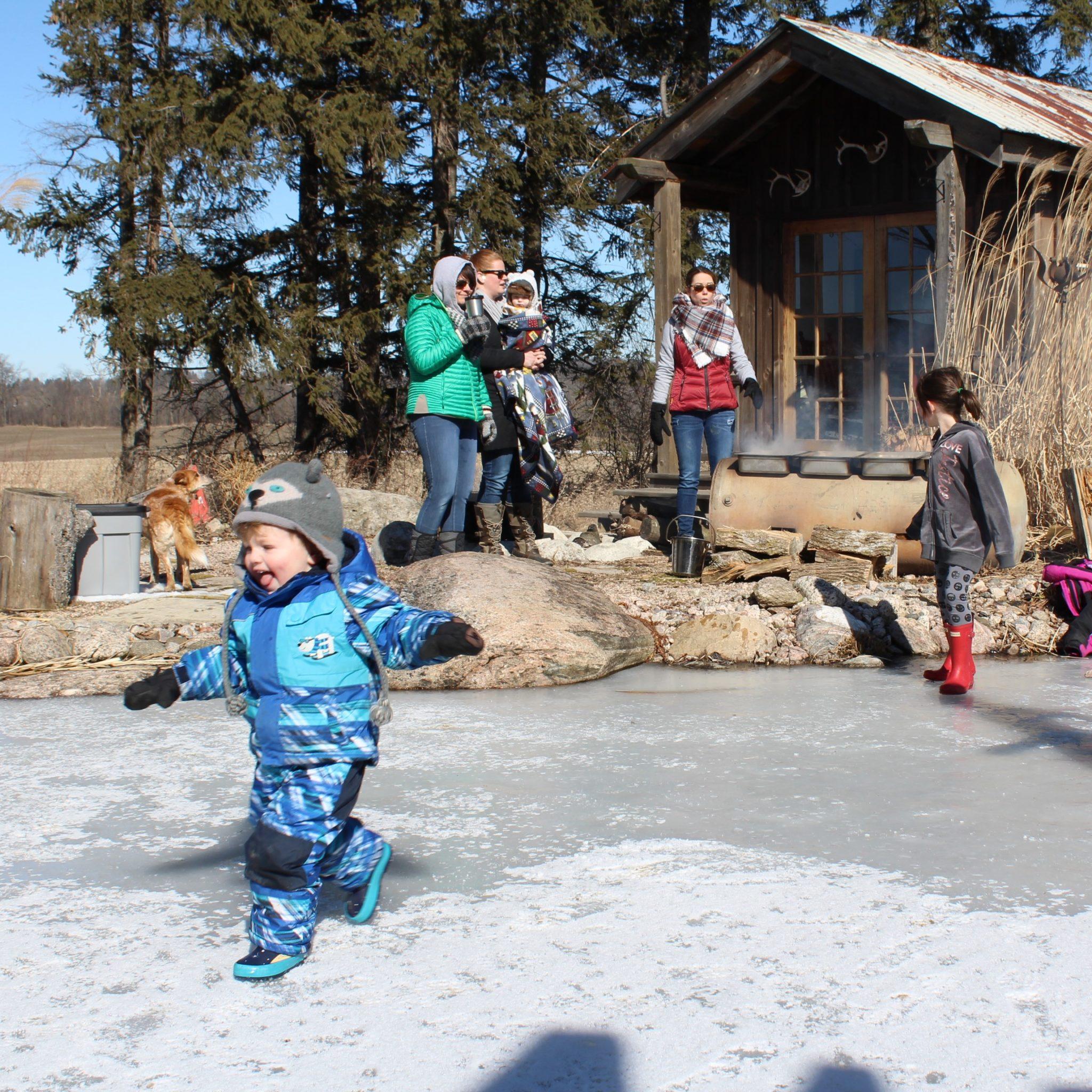 Natural swim pond skating