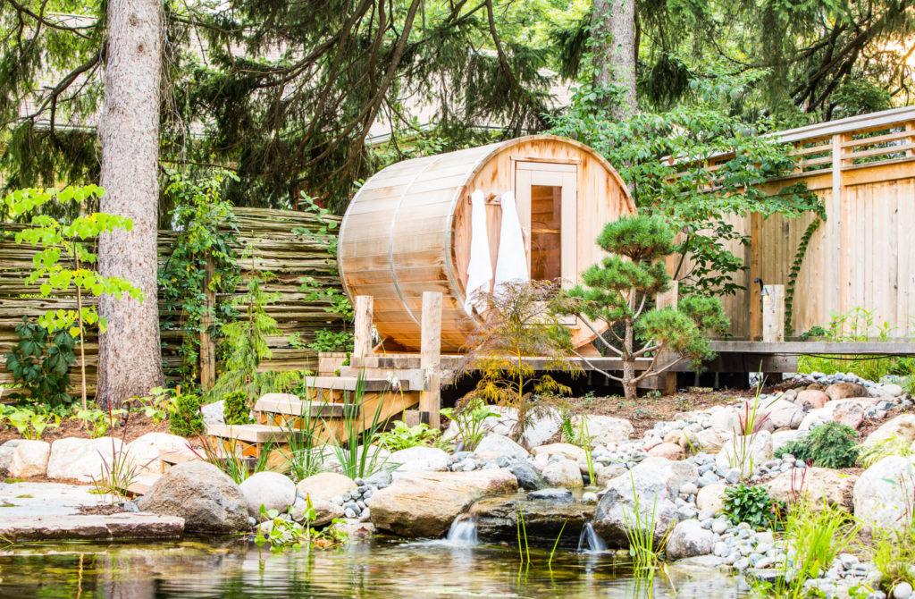 Pond side sauna
