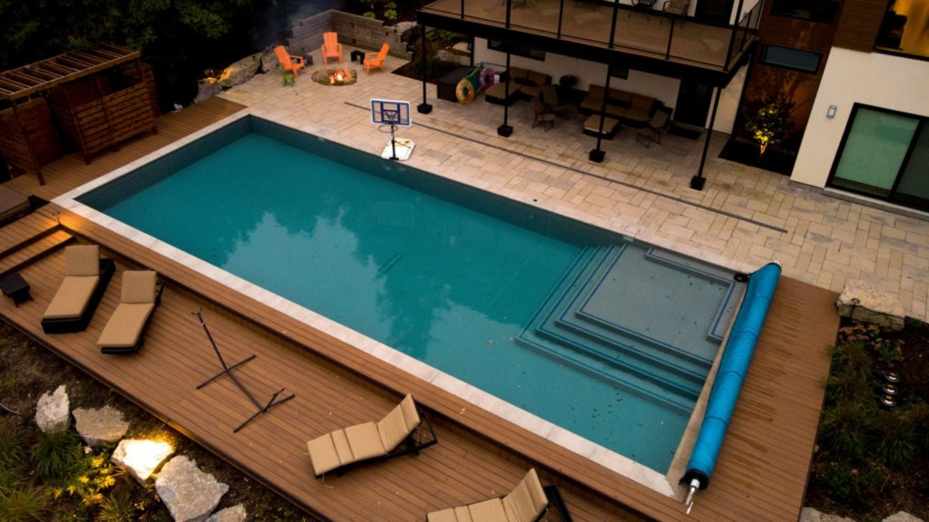 Backyard pool deck and patio