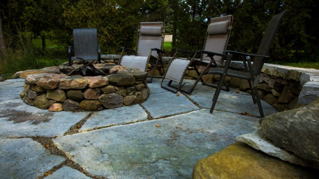 Stone firepit and patio