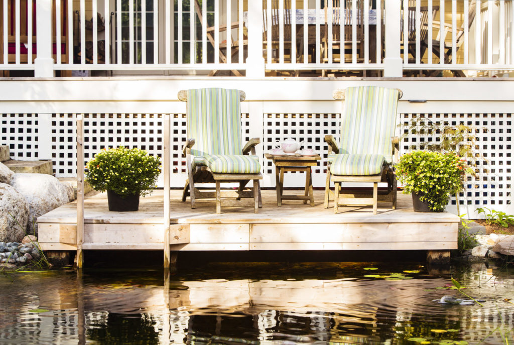 Backyard pond with dock